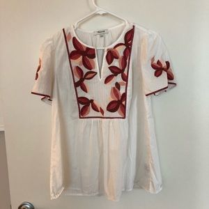 Madewell embroidered fable top- Size S